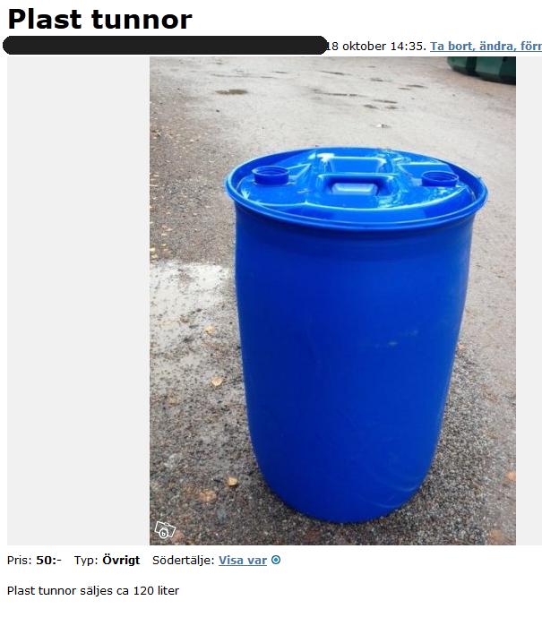 tunnor i plast säljes